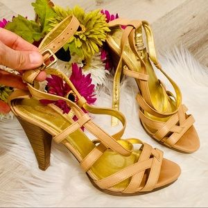 LIKE NEW J. Crew Strappy Nude Leather Heels